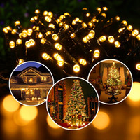 Led Strings Solar Fairy Lights 55ft impermeável 100 LEDs 1.2V Warm White Outdoor Decorativo String Lights para Natal Wedding Party