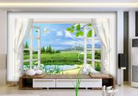 Wholesale Window Insulation Roll - Wholesale- Custom photo wallpaper 3D stereoscopic window scenery 3d wallpaper living room Home Decoration