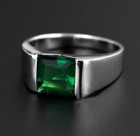 Taglia 8/9/10/11/12 NICE Mens Jewelry Silver Square Verde Emerald Band Ring NON TARNISH