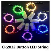 Wholesale Water Proof Led Christmas Lights - New 2M 20LEDs 2*CR2032 LED String Water Proof Portable Copper Silver Wire Starry Lighting String For Decoration Festival Party Easter X'mas