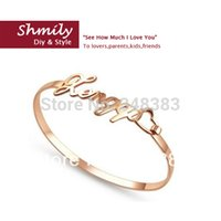 Wholesale Rose Bangles 925 - high-end fashion jewelry 2016 bangles sterling silver 925 name plate bracelet rose gold plated custom name bracelets heart gift