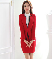 Wholesale Women Outfit Business - Wholesale-New 2016 Fashion Novelty Red OL Styles Skirt Suits Jackets And Skirt Female Business Women Uniform Ladies Office Blazers Outfits