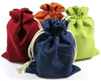 Wholesale Party Favor Bag Plain - Plain Thick Suede Velvet Leather Drawstring Pouch Bag Christmas Gift Packaging Bag Birthday Party Favor Crafts Trinket Jewelry Storage Pouc