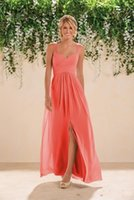 Wholesale Chiffon Bridesmaid Gowns Beading - 2016 Coral Beach Bridesmaids Dresses Chiffon Long A line Beaded Spaghetti Straps Crystals Split Prom Gowns Bridesmaid Dresses New Fashion