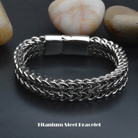 Wholesale mens leather titanium bracelets - Mens Punk Pulseras Titanium Steel Bracelet Double Carinate Wristbands Bangle Trendy Jewelry Boys Brace lace Promotion 20.5cm