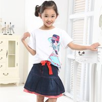 Wholesale White Girl Short Skirt - Retail Cartoon Pattern Girls Clothing Sets 2016 summer White Short Sleeve T-shirt + Denim Skirt 2pcs Set Baby Girl Clothes Kids Clothing Set