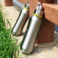 Wholesale Cold Bottles - Fashion Stainless steel thermos Double-layer vacuum cup Cold&hot Flask Mug movement Outdoor Straight Filter water bottle kettle