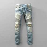 Wholesale Cheap Plaid Pants For Men - Factory Jeans Wholesale Balmain Knee Ripped Jeans Destroyed Hole Jeans For Men Navy Blue Skinny Jeans Cheap Price