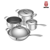 Cheap Wholesale-Free Shipping New Cooking Tools 8pc Of 18 10 Stainless Steel Cookware Set Wok+Steamer+Milk Pot+Stockpot Utensilios De Cocina
