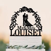 Wholesale Wedding Topper Silhouette - Custom Wedding Cake Topper Silhouette With Last Name Personalized Cake Topper for Groom & Bride, Mr Mrs