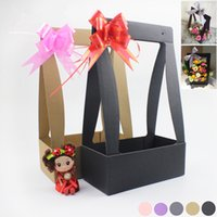 packaging gift baskets - 3pcs New flower wrapping paper Hand held gift box Folding rectangular packaging flower basket home decor party supplies
