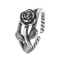 925 antiker silberner verlobungsring großhandel-5 teile / los 925 Sterling Silber Ring Schmuck Einstellbare Rose Blume Antike Verlobungsringe für Frauen Geburtstagsgeschenk