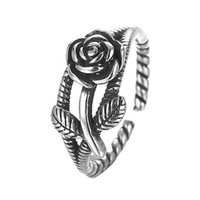 Wholesale 925 Silver Rose Flower Ring - 5pcs lot 925 Sterling Silver Ring Jewelry Adjustable Rose Flower Antique Engagement Rings for Women Birthday Gift