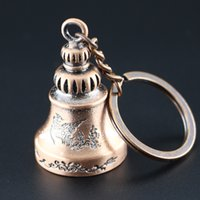 Wholesale Antique Engraved Ring - Small Classical Ring Bell Keychains Pet Bell Key Ring Kid Toy Key Chain Phoenix Engraved Keychain2016