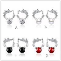 Wholesale Shambhala Rhinestone Charms - 925 Silver plated Shambhala Super Flash crystal agate stone imitation pearl earrings fashion Hello Kitty jewelry 8MM