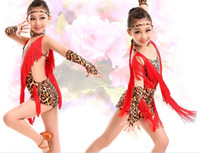 2016 Salsa Danse Fringe Robe Enfants Jaune / Rouge / Blanc Latin Dance Dress Gilrs Tiger / Zebra / Leopard Costumes pour l'expédition Danse libre