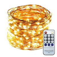 Atacado- Warm White Light 20M / 30M / 50M LED Copper Wire String Lights Holiday Decorativas Starry Lights + Power Adapter + Controle Remoto