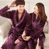 Wholesale Pajamas For Women Cheap - Wholesale-2016 winter-pajamas-men plaid flannel robe bathrobe loungewear For men and women free shipping cheap