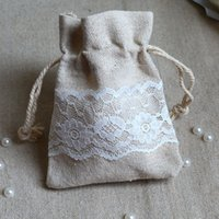 Wholesale Lace Favor Bags - Cotton Linen Lace Gift Bag 8x10cm Birthday Party Wedding Favor Holder chocolate Jewelry Drawstring Pouch