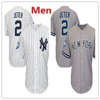Wholesale Yankees Jersey Jeter - Mens Yankees 2 Derek Jeter Baseball Jersey Navy White Gray