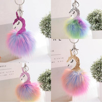 Wholesale Horses Farms - New Anime Horse Keychain Cute Metal Unicorn Key Chain Pendant Women Car Styling Fluffy Fur Pompom Keyring Bag Hang Trinkets