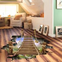 Wholesale Vinyl Floor Graphics - Hot sales 3D Floor Wall Sticker Removable Bridge Mural Decals Vinyl Art Living Room Decor
