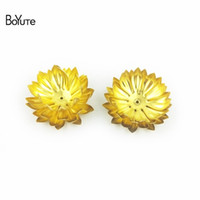 Wholesale Hand Made Decoration Pieces - BoYuTe 5 Pieces 4 Colors 30MM Metal Brass Flower Decoration Embellishments Diy Hand Made Jewelry Findings Components