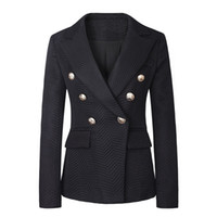 Wholesale Top Coat Double Breasted - Hot Brand B Free Shipping Top Quality Original Design Women's Ladies Females Double-Breasted Twill Jacket Blazer Coat 3colors Metal Buckle