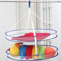 Wholesale Plastic Clothes Baskets Laundry - Household Laundry Basket Plush Toys Drying Rack Home Articles Double Deck Folding Mesh Hanger For Towel Windproof 5rl C R