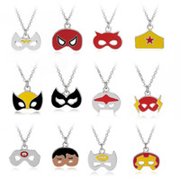 Wholesale Wholesale Superman Masks - Christmas Mask Shape Necklaces Halloween Gift Party Pendant Charm Necklace Batman Captain Superman Jewelry Accessories Wholesale 24 Styles