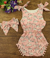 Wholesale Cherry Romper - Baby girls jumpsuit 2017 summer new toddler kids Bows cherry floral printed romper+Bows headband 2pcs sets babies cotton clothes A9545