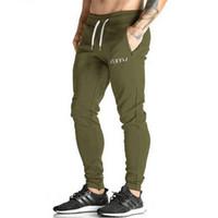 Wholesale Green Joggers Wholesale - Wholesale-Golds Pants Mens Tracksuit Bottoms Cotton Fitness Skinny Joggers Sweat Pants Pantalones Chandal Hombre Casual Pants
