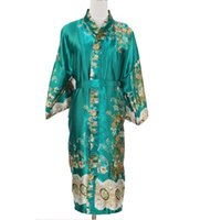 Wholesale Male Silk Kimono Robe - Wholesale-Green Traditional Chinese Men Silk Rayon Long Robe Unisex Kimono Bath Gown Summer Sleepwear Male Sexy Pijama Plus Size NM020