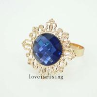 Wholesale Napkin Navy Blue - 10pcs Lot Navy Blue Color Beautiful vintage style gemstones Gold Plated Napkin Rings Wedding Bridal Shower Napkin holder-Free Shipping