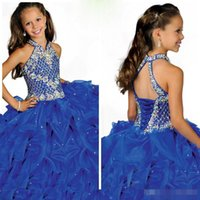 Wholesale Strap Princess Halter Dress - 2016 Glamorous Halter High Neckline Beaded Straps Beading Little Girls Pageant Dress Pleated Blue Organza Flower Girls Dress_