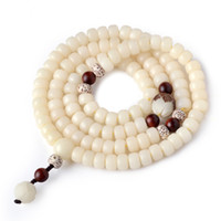ingrosso braccialetti di buddha di giada-Bianco Jade Bodhi Bambino Buddha perline Lotus Multi-Circle Bracciale Lobular Red Sandalwood Accessori Modelli di coppia