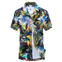 Wholesale Green Hawaiian - Wholesale-Summer Dress Hawaiian Shirt Men's Hawaii Beach Shirt Short Sleeve Floral Loose Casual Mens Shirts Fashion 2016 Plus Size L-4XL