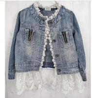 Wholesale Wholesale Girls Jean Jacket - Girls' lace jacket washed denim princess lace jean jacket Children's cowboy clothing 33yt
