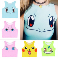 500Pcs Top-Qualität Sexy Girls Cosplay Frauen Poke mon Tanks Taschen-Monster Sailor Moon netter Kristall Go Vest Tank Tops Hemd