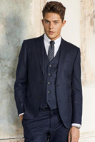 Wholesale Grooms Tuxedo Jacket Blue - 2016 Blue Groom Tuxedos Wedding Suits for men Formal Groom Wedding Suits 3 Pieces Groomsmen Suits Men Suits (Jacket+Pants+Vest+Tie)