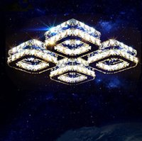 Wholesale Light Chandeliers Remote Controlled - Free Shipping Modern Led Crystal Light Square Surface Mounted Lamp Crystal Chandeliers Ceiling Light Fixture Living Room Corridor Light