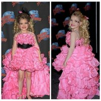 Wholesale Hot Pink Glitz Pageant Dresses - 2016 Princess Glitz Hot Pink Spaghetti Girls Pageant Dresses Tiered Ball Gown Hi Lo Ruffles Organza Pretty Flowers Girls Dress Cheap