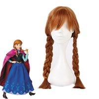 Wholesale Braided Ponytail Wig - Z&F Frozen Double Ponytail Braid Anna Princess Christmas Kids Cosplay Wig 40cm Long Brown Children Show Party Kindergarden For Audlt Unisex