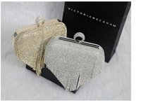 Wholesale Ladies Shoulder Long Bag - 2016 Ladies Fashion Bag Woman Evening bag Diamond Rhinestone Clutches Crystal Clutch Wallet Purse for Wedding Party Banquet With Long Chain