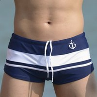 Wholesale Sailor Swim - Wholesale-Surf Beach Shorts Anchor Swim Trunks Striped Sailor Swim Shorts European Mens Boardshorts Quick Dry Nylon Gay Xxl One Piece