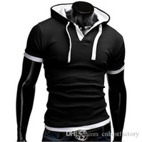 Wholesale Tshirts Slim Sleeve Mens - Summer Men T Shirts 2016 New Fashion Tops Tees Hooded Short Sleeve 100% Cotton T-Shirt Mens Clothing Casual Tee Shirts hombre Tshirts