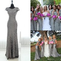 Wholesale Grey Sequin Long Dress - Silver Grey Sequins Long Bridesmaid Dress 2016 Sparkly Cap Sleeves Backless Floor Length Long Plus Size CMaid Of Honor