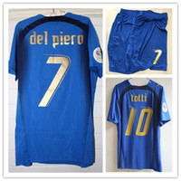 Wholesale Retro Shirts - Retro 2006 italy jerseys final game Del Piero Pirlo  Totti  Inzaghi   Cannavaro  Materazzi  Grosso jersey shirt