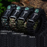 Wholesale Survival Bracelet Whistle Clasp - Paracord bracelet survival bracelets with compass plastic whistle buckle and with the flint fire starter for Picnic