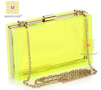 Wholesale Green Colored Handbags - Factory direct brand Yanbao transparent candy colored womens fashion chain bag Street wind candy color acrylic banquet ladies handbags